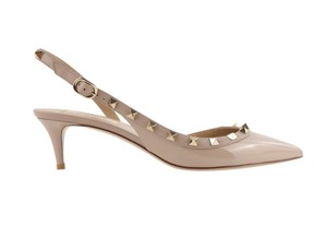 Valentino Patent Leather Leather Gold Hardware Studded Nude Pumps