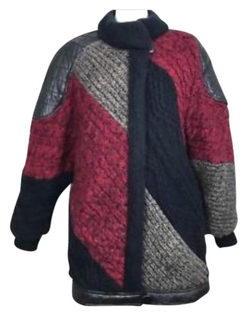 Item - Black Gray Red Couture Colorblock Knit and Leather Coat Size 10 (M)