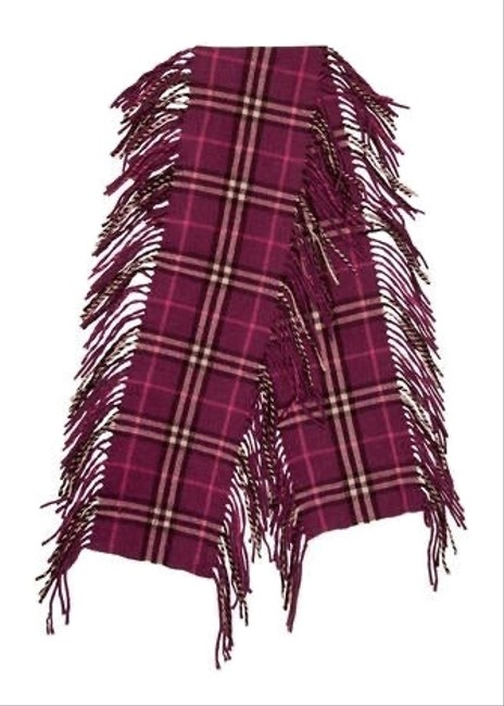 Item - Purple Happy Double Fringe Cashmere Scarf/Wrap