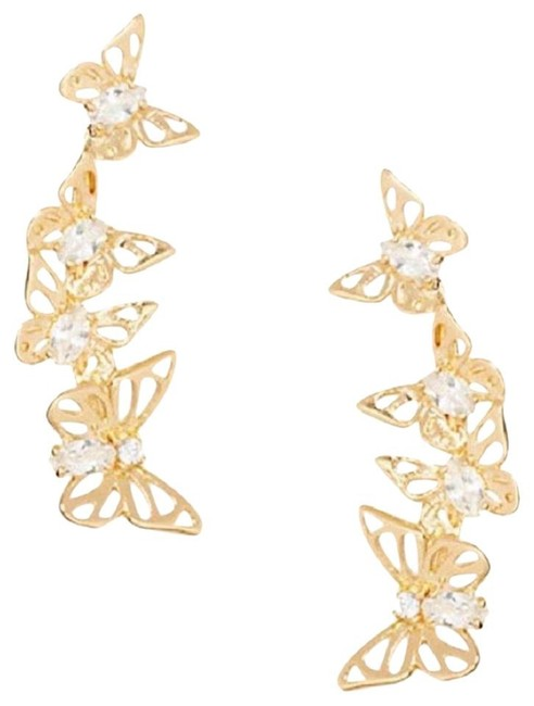 Kate Spade Gold Social Butterfly Ear Pin Style # Wbruf385 Earrings Kate Spade Gold Social Butterfly Ear Pin Style # Wbruf385 Earrings Image 1