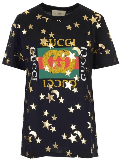 Item - Black Logo with Stars and Moon Print Tee Shirt Size 4 (S)