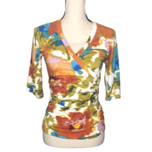 Item - Rust Blue Ivory Floral Faux Wrap Tee Shirt Size 4 (S)