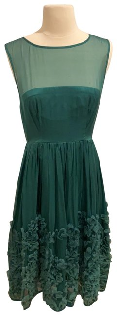 Item - Emerald Silk Fit and Flare Mid-length Cocktail Dress Size 6 (S)