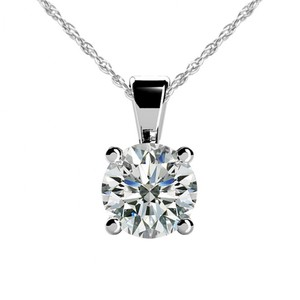 White 0.55 Ct. Ladies Round Solitaire Pendant with Complimentary Necklace