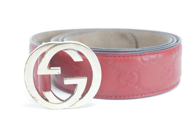 Gucci Red Guccissima Embossed Leather 95/38 1gk0122 Belt Gucci Red Guccissima Embossed Leather 95/38 1gk0122 Belt Image 1