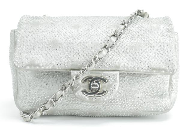 Item - Handbag Classic Flap Strass Crystal Bead Jewel Mini Embellished 6ck0122 Silver Leather Cross Body Bag