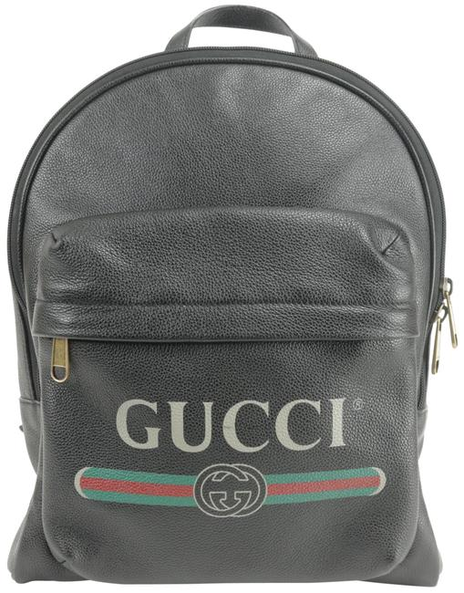 Gucci Web Logo Calfskin 2gko123 Black Leather Backpack Gucci Web Logo Calfskin 2gko123 Black Leather Backpack Image 1