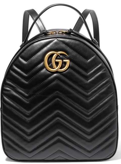 Gucci Shoulder Bag Marmont New Gg Quilted Black Leather Backpack Gucci Shoulder Bag Marmont New Gg Quilted Black Leather Backpack Image 1