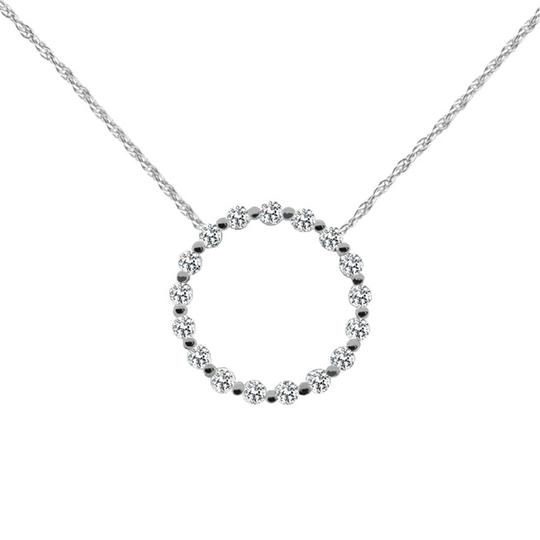 Preload https://img-static.tradesy.com/item/26748631/white-170-ct-round-simple-circle-pendant-with-complimentary-necklace-0-0-540-540.jpg