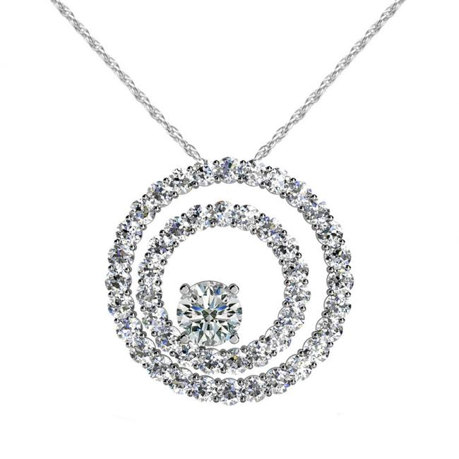 Item - White 2.50 Ct. Accented Solitaire Round Double Circle Pendant Necklace