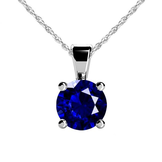 Item - White 3.00 Ct. Solitaire Round Cut Blue Sapphire Pendant with A Complimentar Necklace