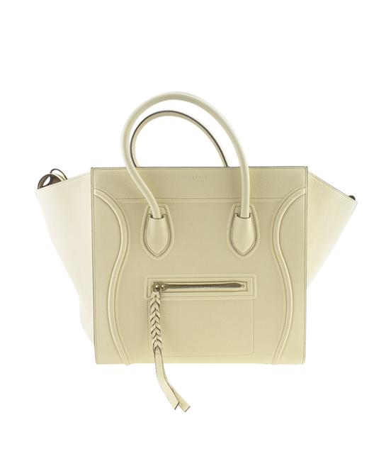 Céline Cabas Phantom Medium Butter Drummed Calfskin (167912) White Leather Tote Céline Cabas Phantom Medium Butter Drummed Calfskin (167912) White Leather Tote Image 1