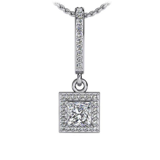 Item - White 0.75 Ct. Princess Pendant with Square Shaped Halo Necklace