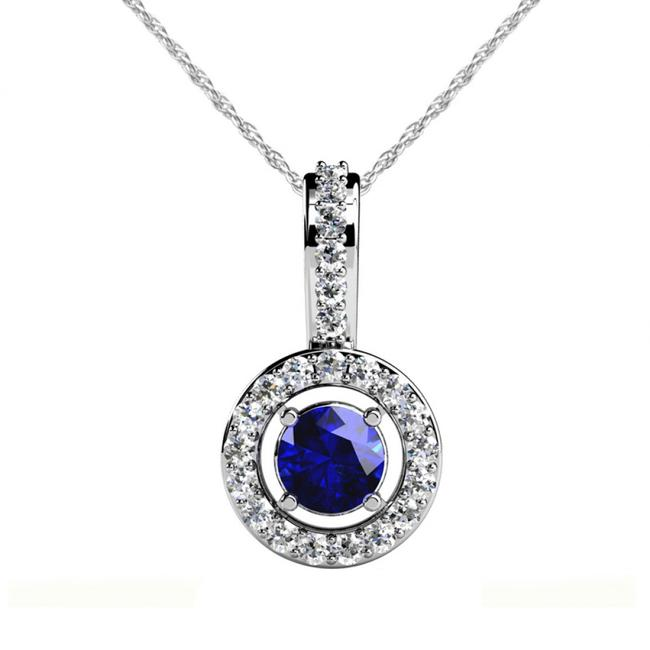 Item - White 0.85 Accented Round Sapphire September Birthstone Halo Necklace