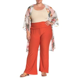 Planet Gold Monochrome Stretchy Elastic Wide Leg Pants Orange