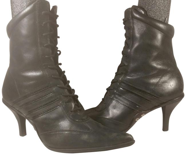 Nine West Black W/Silver Accent Women's Soft Leather Striped Dress Casual Lace 5. Boots/Booties Size US 5.5 Regular (M, B) Nine West Black W/Silver Accent Women's Soft Leather Striped Dress Casual Lace 5. Boots/Booties Size US 5.5 Regular (M, B) Image 1