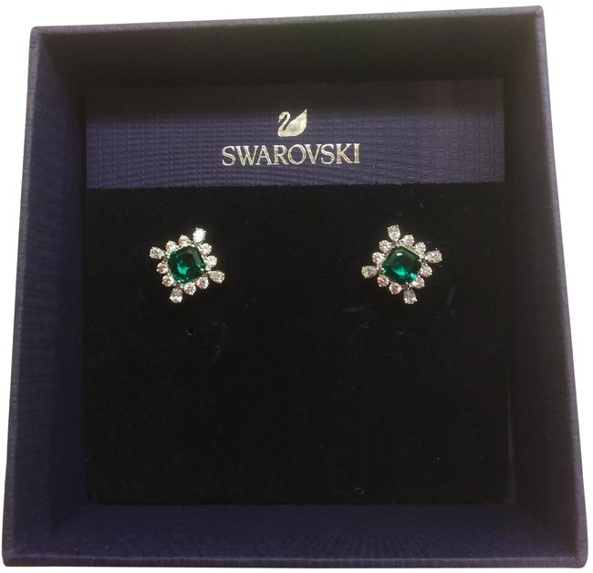 Item - Green New and Silver Square Earrings