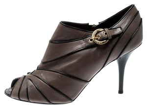 Louis Vuitton Leather Peep Toe Ankle Grey Boots