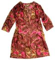 Athleta Brown Pink Paisley Silk 3/4 Sleeve Beach Cover-up Kaftan Mid-length Short Casual Dress Size 10 (M) Athleta Brown Pink Paisley Silk 3/4 Sleeve Beach Cover-up Kaftan Mid-length Short Casual Dress Size 10 (M) Image 1