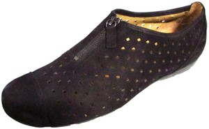 Gabor Suede Perforated Zipper Casual Black Boots