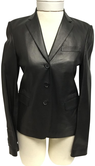 Item - Black Lambskin with Front Button Closure Jacket Size 4 (S)