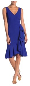 Marina V-neck Midi Sleeveless Evening Ruffle Dress