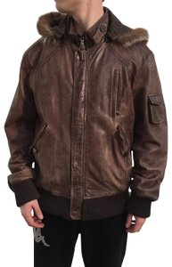 Canali Distressed Men Men's Hood brown Leather Jacket