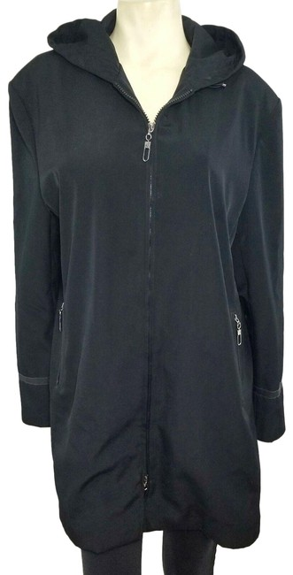 Item - Black Zip Front Hooded Fall Winter Weather Coat Size 16 (XL, Plus 0x)