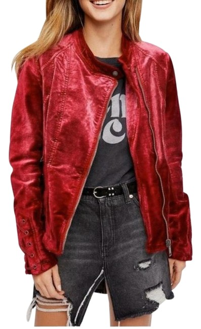 Item - Rose Lacey Red Moto Jacket Size 6 (S)