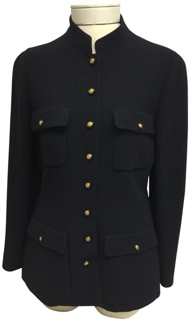 Item - Navy Jacket with Gold Logo Buttons Blazer Size 8 (M)
