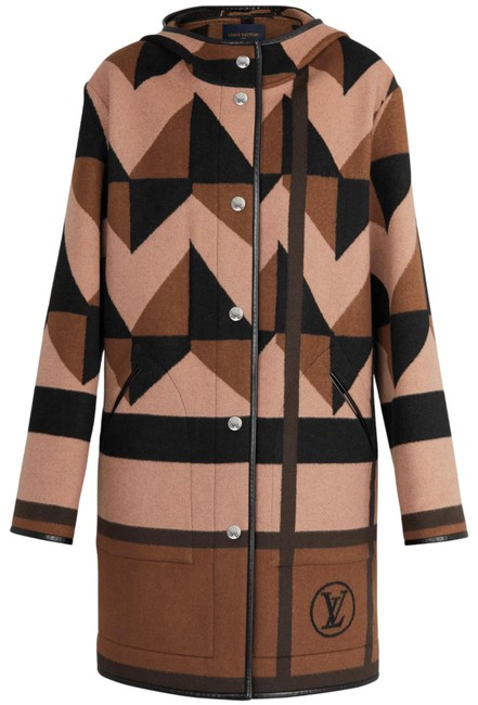 Item - Mixed Black/ Marron/Brown Hooded Coat Size 4 (S)