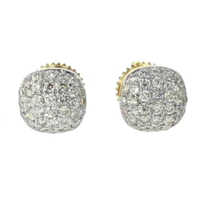 Item - Yellow Gold 10k Cushion Shape 0.52ctw Round Diamonds Earrings