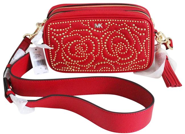 Item - Small Quilted Studded Camera Red Leather Cross Body Bag