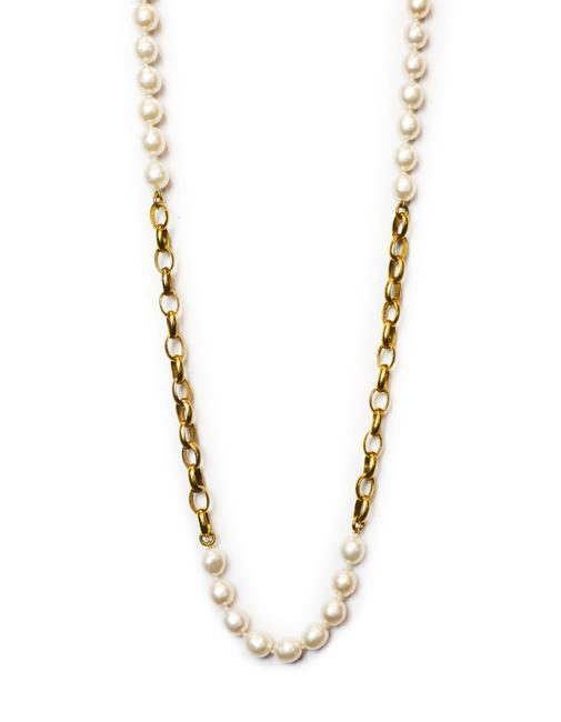 Item - Ivory/Gold Vintage Goldtone Chain-link & Faux Pearl Necklace