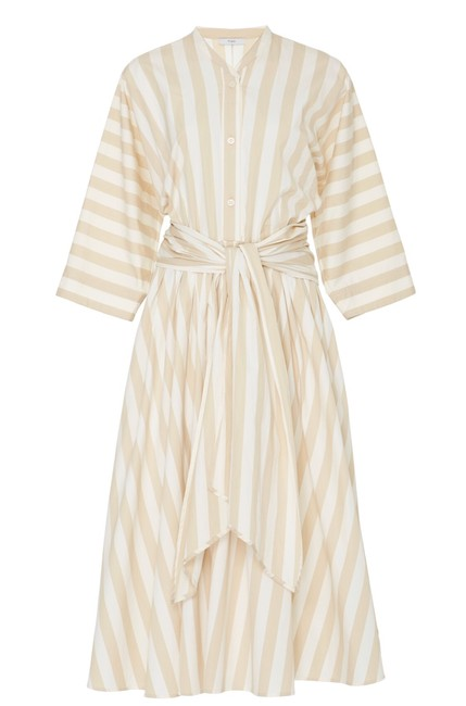 Item - Striped Cotton Mid-length Casual Maxi Dress Size 6 (S)