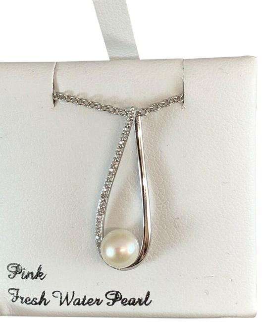 Item - Silver Pearl Cubic Zirconia Freshwater Cultured Pendant Necklace