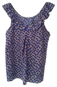 Collective Concepts Polyester Sleeveless Ruffle Top Gray and blue