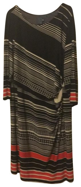 Item - Black Cream and Red Long Sleeve Striped Mid-length Work/Office Dress Size 18 (XL, Plus 0x)