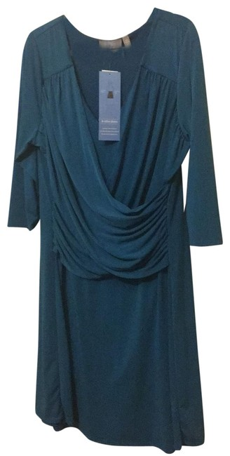 Item - Teal Ny Collection Slimming Mid-length Cocktail Dress Size 22 (Plus 2x)