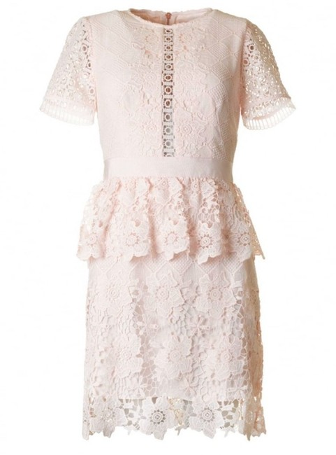 Item - Pink Women's Layered Lace Skater Cocktail Dress Size 8 (M)