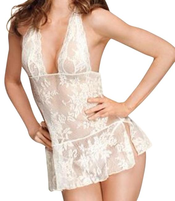 Item - Ivory Allover Lace Halter Babydoll Slip Babydoll Mid-length Night Out Dress Size 6 (S)