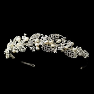 Elegance By Carbonneau Freshwater Pearl And Crystal Headband Tiara Vine