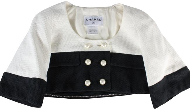 Item - Black White Colorblock Pearl Button Cropped Jacket Size 2 (XS)