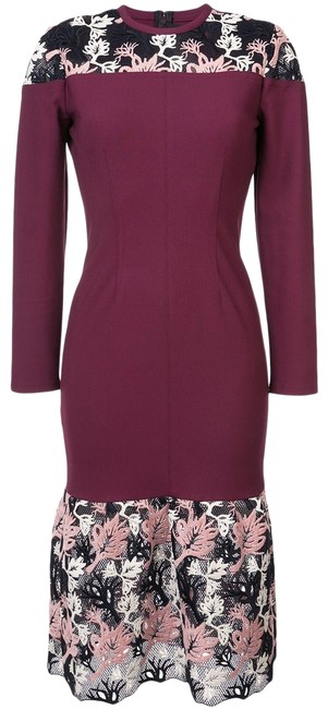 Item - Red Burgundy Floral Lace Inset Seamed Sheath Mid-length Cocktail Dress Size 10 (M)