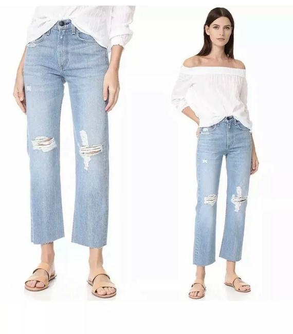 Item - Straight In Shaker Destroyed High Waist Crop 30 Capri/Cropped Jeans Size 8 (M, 29, 30)