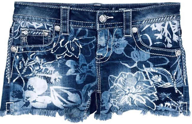 Item - Blue Tropical Hibiscus All Over Floral Cut Off Denim Shorts Size 2 (XS, 26)