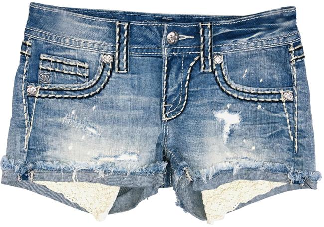 Item - Blue Light Wash Signature Fringed Cuffs Denim Shorts Size 0 (XS, 25)