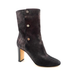 Jimmy Choo Bronze Dayno Black 85 Suede Anthracite Metallic Shimmer Boots
