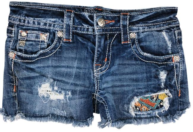 Item - Blue Signature Colored Embroidered Detail Denim Shorts Size 2 (XS, 26)