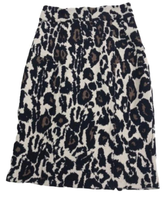 Item - Cream Brown Tailored Pencil In Leopard Animal Print Skirt Size 6 (S, 28)